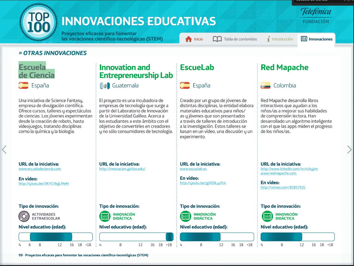Top 100 Innovaciones Educativas por Telefónica