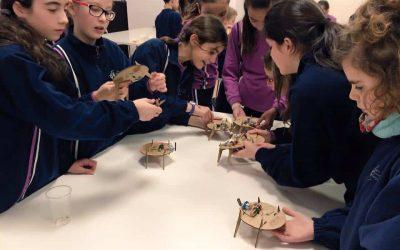 niñas haciendo robots